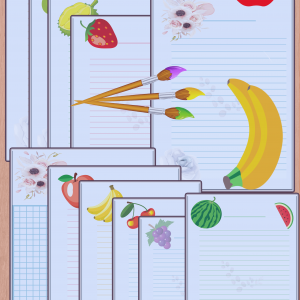 11x printable lined handwriting paper worksheets with mixed fruits pictures.