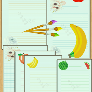 6x printable lined paper with fruits pictures.worksheets