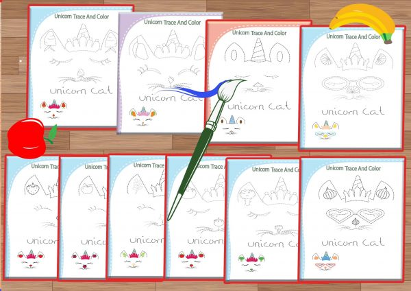 Unicorn trace and color worksheets